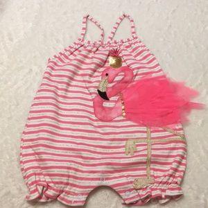 Mud pie Pink Flamingo Romper Size 9-12 Months